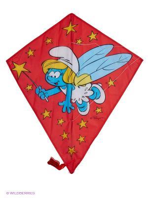 Воздушный змей Смурфетта-фея Смурфики. Цвет: красный, белый, голубой