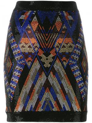 Декорированная юбка с узором Balmain. Цвет: чёрный