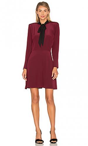 Платье с завязкой на шее и длинным рукавом The Kooples. Цвет: вишня