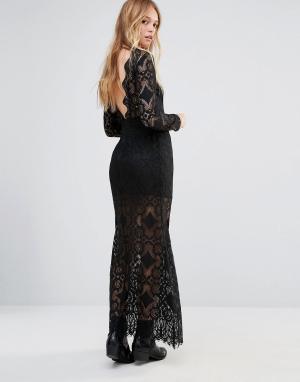 Ebonie n ivory Кружевное платье макси с глубоким вырезом сзади. Цвет: черный