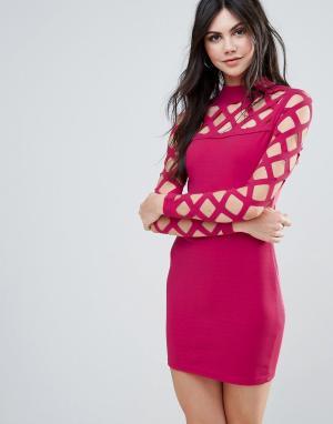 Parisian Облегающее платье с декоративной сеткой. Цвет: розовый