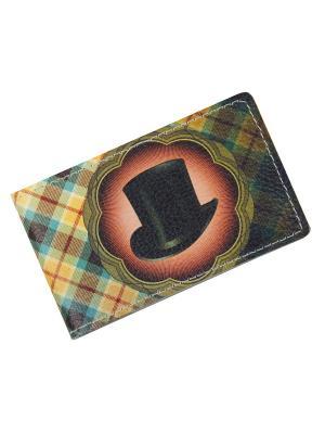 Обложка для визитных карточек Кажан. Цвет: хаки, коричневый, светло-желтый