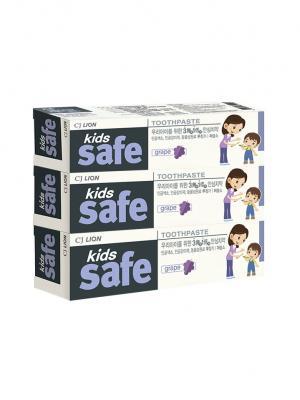 Детская зубная паста  СJ LION Kids safe со вкусом винограда (3-12 лет) 90 гр. х 3шт. Cj. Цвет: кремовый