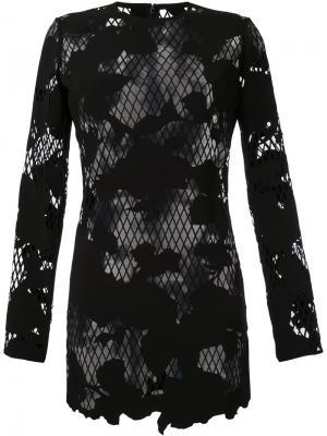 Полупрозрачное платье с цветочным рисунком Anthony Vaccarello. Цвет: чёрный