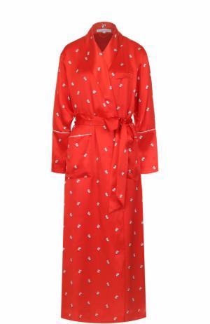 Шелковый халат с поясом Olivia Von Halle. Цвет: красный