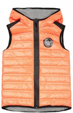 Стеганый пуховый жилет на молнии с капюшоном Giorgio Armani. Цвет: оранжевый