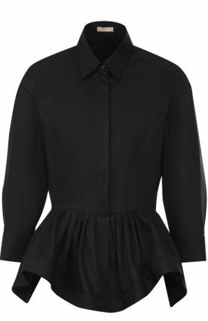 Шерстяная блуза с баской и укороченным рукавом Alaia. Цвет: черный