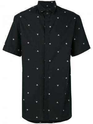 Рубашка с вышивкой Adorn Philipp Plein. Цвет: синий