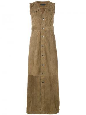 Длинное платье-рубашка с V-образным вырезом Diesel Black Gold. Цвет: телесный