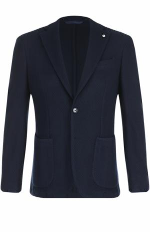 Шерстяной однобортный пиджак L.B.M. 1911. Цвет: темно-синий