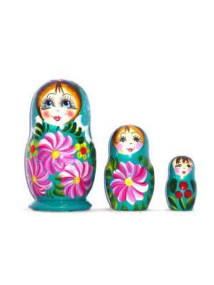 Матрёшка - Тройка цветочек в бирюзовой юбке Taowa. Цвет: бирюзовый