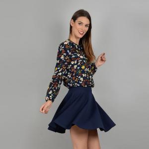 Блузка с круглым вырезом и длинными рукавами MOLLY BRACKEN. Цвет: темно-синий/цветочный рисунок