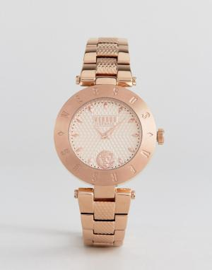 Versus Versace Золотисто-розовые часы с браслетом и логотипом S7713. Цвет: золотой