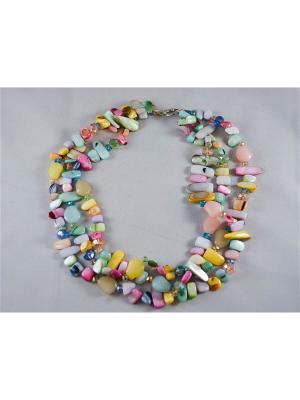 Бусы Miss Bijou. Цвет: бледно-розовый, светло-желтый, розовый, желтый, зеленый, светло-зеленый, голубой, светло-голубой, светло-оранжевый, светло-коралловый