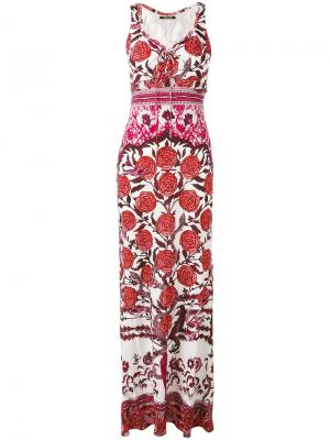 Длинное платье с принтом роз Roberto Cavalli. Цвет: белый