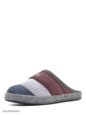 Тапочки GANT. Цвет: серый, бордовый