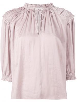 Блузка с присборенной отделкой Ulla Johnson. Цвет: телесный