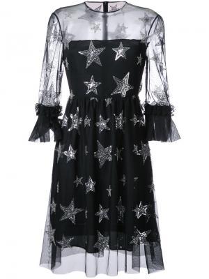 Платье со звездами и пайетками Huishan Zhang. Цвет: чёрный