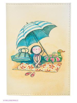 Обложка для автодокументов Девочка на пляже под зонтом Mitya Veselkov. Цвет: светло-желтый