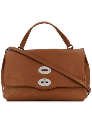 Маленькая сумка-тоут Postina Zanellato. Цвет: коричневый