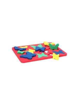 Игрушка рамка-вкладыш вкладыш Бабочки БОМИК. Цвет: синий, желтый, зеленый