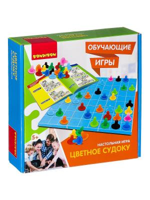 Обучающие игры Bondibon Настольная игра ЦВЕТНОЕ СУДОКУ, BOX 25x7x25 см. Цвет: зеленый, белый, светло-оранжевый