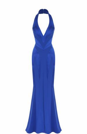 Приталенное шелковое платье-макси с подолом Rubin Singer. Цвет: синий