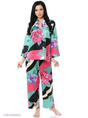 Пижама Natori. Цвет: бирюзовый, черный