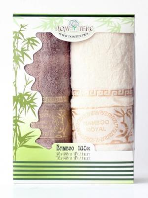 Набор махровых полотенец бамбук Домтекс. Цвет: белый, коричневый