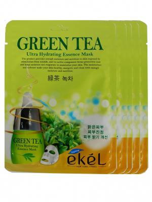 Набор тканевых масок с экстрактом зеленого чая, 25гр*5 шт. EKEL. Цвет: белый