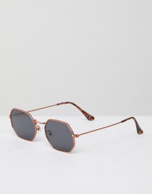 Jeepers Peepers Шестиугольные солнцезащитные очки. Цвет: золотой