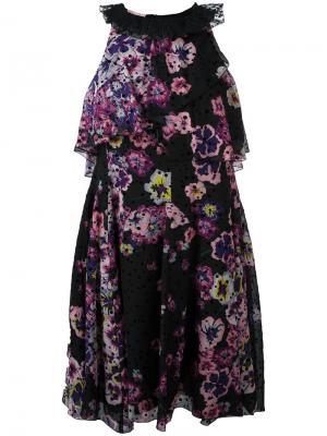 Платье с цветочным рисунком Giamba. Цвет: чёрный