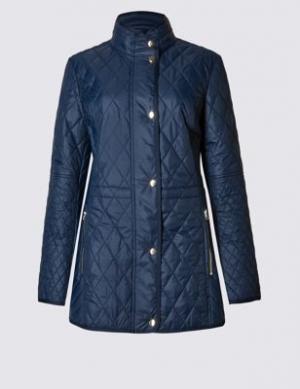 Стёганое пальто Stormwear™ с карманами на молнии Classic. Цвет: темно-синий