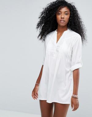 Anmol Классическое белое пляжное платье-рубашка. Цвет: белый