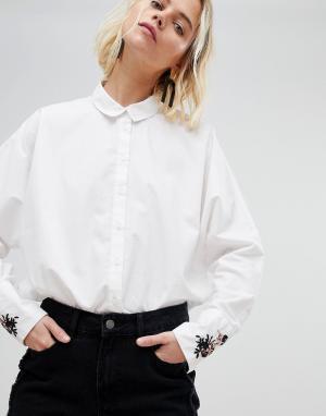 Pieces Рубашка с вышивкой на манжетах. Цвет: белый