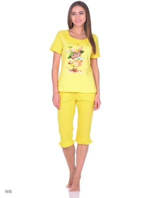 Комплект домашней одежды ( футболка, бриджи) HomeLike. Цвет: желтый