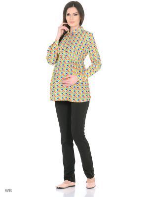 Блузка для беременных и кормящих ФЭСТ. Цвет: желтый, оранжевый