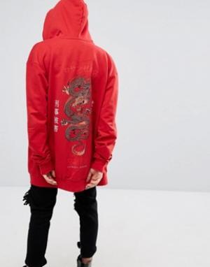 Criminal Damage Свободное худи на молнии с принтом дракона сзади. Цвет: оранжевый