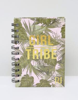 River Island Блокнот с надписью Girl Tribe. Цвет: мульти