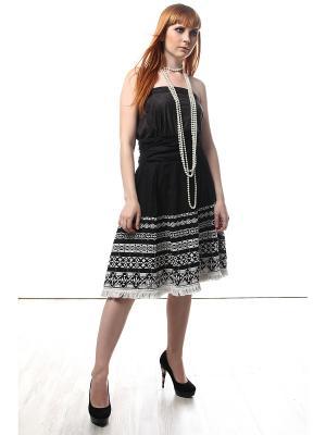 Юбка черно-белая с вышивкой и бахромой А-образный силуэт SEANNA