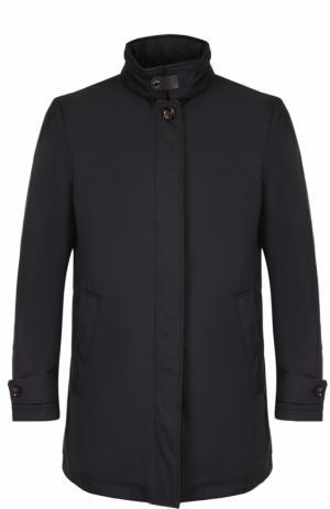 Пальто прямого кроя с воротником-стойкой Moorer. Цвет: синий