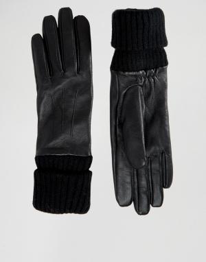 Pieces Кожаные перчатки с трикотажными манжетами. Цвет: черный