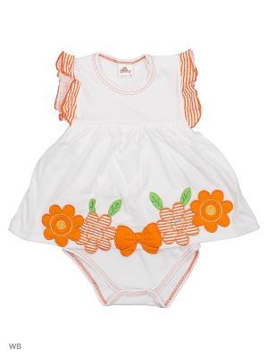 Боди-платье Babycollection. Цвет: белый, оранжевый
