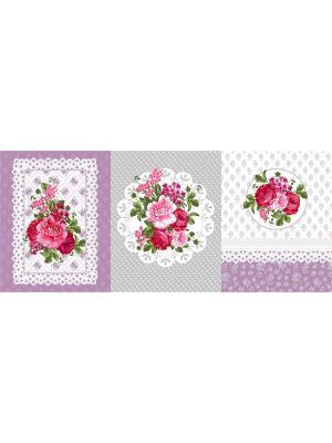 Набор из трех полотенец (45х60) Медальон Традиция. Цвет: сиреневый, светло-серый, розовый, белый