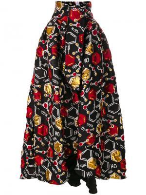 Пышная юбка с узором Ultràchic. Цвет: чёрный