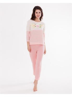 Комплект одежды: лонгслив, бриджи Mark Formelle. Цвет: молочный, розовый