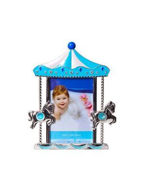 Фоторамка карусель с лошадками, голубая, металлическая со стразами, формата 10х15см PLATINUM quality. Цвет: голубой