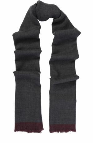 Шерстяной шарф с необработанным краем Ermenegildo Zegna. Цвет: серый