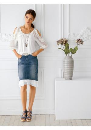 Джинсовая юбка Linea Tesini. Цвет: синий деним
