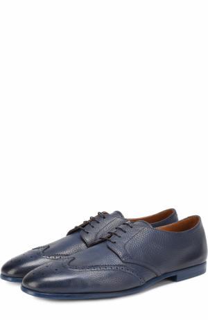 Классические кожаные дерби с брогированием Doucals Doucal's. Цвет: темно-синий